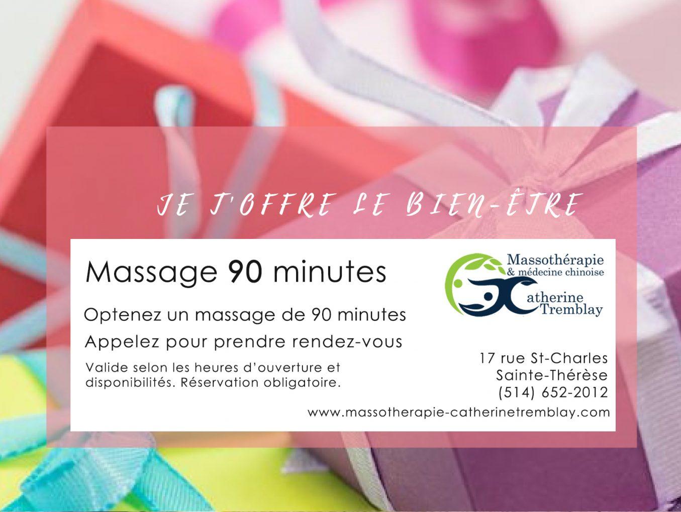 Soins de massage 90 minutes